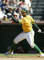 Terrence Long of the Oakland Athletics bats during a 2002 MLB season game against the Los Angeles Angels at Angel Stadium, in Anaheim, California. (Larry Goren/Four Seam Images)