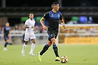SAN JOSE, CA - AUGUST 31: Cristian Espinoza of the San Jose Earthquakes during a Major League Soccer (MLS) match between the San Jose Earthquakes and the Orlando City SC  on August 31, 2019 at Avaya Stadium in San Jose, California.