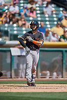 Alex De Goti (1) of the Fresno Grizzlies bats against the Salt Lake Bees at Smith's Ballpark on September 3, 2018 in Salt Lake City, Utah. The Grizzlies defeated the Bees 7-6. (Stephen Smith/Four Seam Images)
