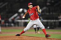 Pitcher Trevor Bettencourt (25) of the Lakewood BlueClaws delivers a pitch in the rain in the ninth inning of a game against the Columbia Fireflies on Saturday, May 6, 2017, at Spirit Communications Park in Columbia, South Carolina. Lakewood won, 1-0, as Bettencourt combined with Nick Fanti for a no-hitter. (Tom Priddy/Four Seam Images)