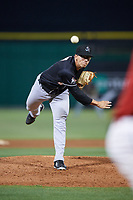 Jupiter Hammerheads relief pitcher Alejandro Mateo (17) delivers a pitch during a game against the Clearwater Threshers on April 9, 2018 at Spectrum Field in Clearwater, Florida.  Jupiter defeated Clearwater 9-4.  (Mike Janes/Four Seam Images)