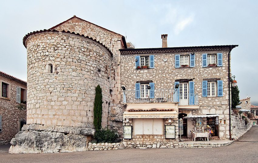 A stone building in the mountaintop village of Gourdon in the Côte d'Azur.