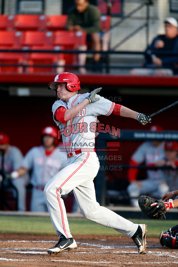 Alex Allbritton #4 of the New Mexico Lobos bats against the San Diego State Aztecs at Tony Gwynn Stadium on May 16, 2013 in San Diego, California. New Mexico defeated San Diego State, 14-6. (Larry Goren/Four Seam Images)