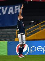 BOGOTA - COLOMBIA - 04 – 03 - 2018: Andres Cadavid, jugador de Millonarios, celebra el gol anotado a America de Cali, durante partido de la fecha 6 entre Millonarios y America de Cali, por la Liga Aguila I 2018, jugado en el estadio Nemesio Camacho El Campin de la ciudad de Bogota. / Andres Cadavid, player of Millonarios celebrates the scored goal to America de Cali,  during a match of the 6th date between Millonarios and America de Cali,  for the Liga Aguila I 2018 played at the Nemesio Camacho El Campin Stadium in Bogota city, Photo: VizzorImage / Luis Ramirez / Staff.