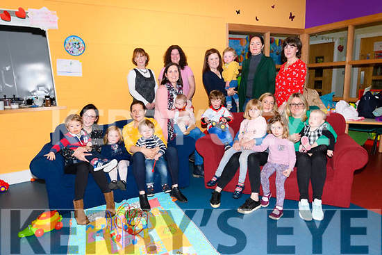 The group of parents and toddlers at the Talk and Play workshop by Kerry ETB at Aiseanna na hÓige in Dingle: Maire de Baróid, Lineiya Vlas, Majella O' Sullivan with Robert, Grainne Kennedy with Zara, Melanie Ní Lúing with Emily and Lauren, Rosarii Skerry with David and Gemma, Alana Ní Chonchúir with Jamie Ó Suilleabhain, Siobhan Devane with Éabha and Cian, Aifric Ó Brosnachain, Eithne Boland (manager Dingle Further Education Training Centre).
