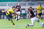 Borussia Dortmund Forward Pierre-Emerick Aubameyang (L) attempts a kick while being defended by AC Milan Defender Gabriel Paletta (R) during the International Champions Cup 2017 match between AC Milan vs Borussia Dortmund at University Town Sports Centre Stadium on July 18, 2017 in Guangzhou, China. Photo by Marcio Rodrigo Machado / Power Sport Images