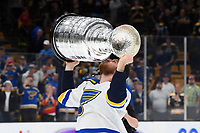 June 12, 2019: St. Louis Blues center Brayden Schenn (10) hoists the Stanley Cup at game 7 of the NHL Stanley Cup Finals between the St Louis Blues and the Boston Bruins held at TD Garden, in Boston, Mass.  The Saint Louis Blues defeat the Boston Bruins 4-1 in game 7 to win the 2019 Stanley Cup Championship.  Eric Canha/CSM.