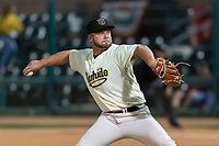 Visalia Rawhide relief pitcher Matt Brill (25) during a California League game against the Rancho Cucamonga Quakes on April 9, 2019 in Visalia, California. Visalia defeated Rancho Cucamonga 8-5. (Zachary Lucy/Four Seam Images)