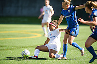 Seattle, WA - Sunday, May 1, 2016: FC Kansas City defender Desiree Scott (3) works to maintain possession during the first half of a National Women's Soccer League (NWSL) match at Memorial Stadium. Seattle won 1-0.