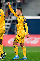 Team captain Eden Hazard midfielder of Belgium celebrates scoring a goal  <br /> Saint Petersbourg  - Qualification Euro 2020 - 16/11/2019 <br /> Russia - Belgium <br /> Foto Photonews/Panoramic/Insidefoto <br /> ITALY ONLY