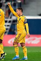 Team captain Eden Hazard midfielder of Belgium celebrates scoring a goal  <br /> Saint Petersbourg  - Qualification Euro 2020 - 16/11/2019 <br /> Russia - Belgium <br /> Foto Photonews/Panoramic/Insidefoto <br /> ITALY ONLY