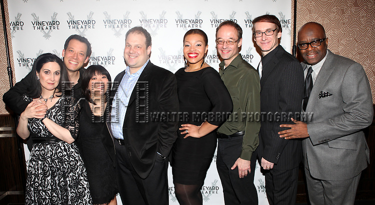Cast from AVENUE Q  attending the Vineyard Theatre's 30th Anniversary Gala Celebration Cocktail Reception at the Edison Ballroom in New York City on 3/18/2013