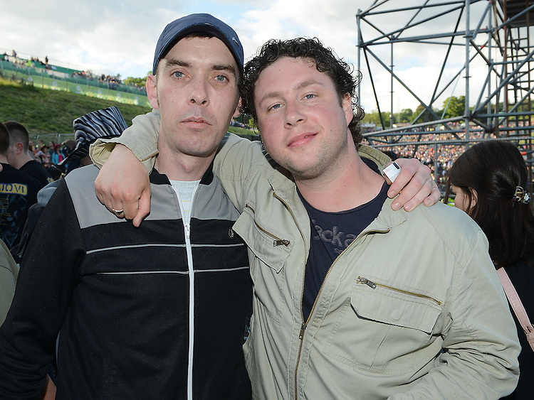 Derek Collins and David Smallwood pictured at the Bon Jovi concert at Slane Castle. Photo:Colin Bell/pressphotos.ie