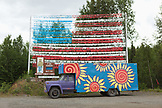 USA, Alaska, Talkeetna, a painted truck on side of the road 15 miles south of Talkeetna near Willow Creek