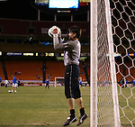 30 October 2004: Earthquakes goalkeeper Pat Onstad wams up before the game. The Kansas City Wizards defeated the San Jose Earthquakes 3-0 at Arrowhead Stadium in Kansas City, MO in the second leg of their Major League Soccer Western Conference Semifinal playoff series. The Wizards eliminated the Earthquakes 3-2 on aggregate goals..