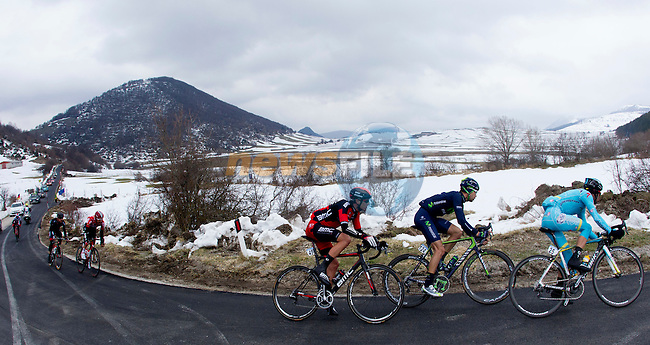 Action from Stage 5 of the 2015 Tirreno-Adriatico cycle race, running 197km from Esanatoglia to the summit of Terminillo Italy. 15th March 2015. <br /> Photo: ANSA/Claudio Peri/www.newsfile.ie