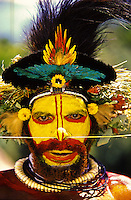 Huli Wigmen from the Tari Valley in the Southern Highlands of Papua New Guinea at a Sing-sing Mt Hagen Papua New Guinea. Wearing bird of paradise feathers and plumes portrait