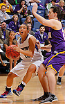 SIOUX FALLS, SD - MARCH 10:  Haley Seibert #10 of IPFW drives against xxxxxx of Western Illinois during their game at 2013 Summit League Basketball Championships Sunday at the Sioux Falls Arena. (Photo by Dick Carlson/Inertia)