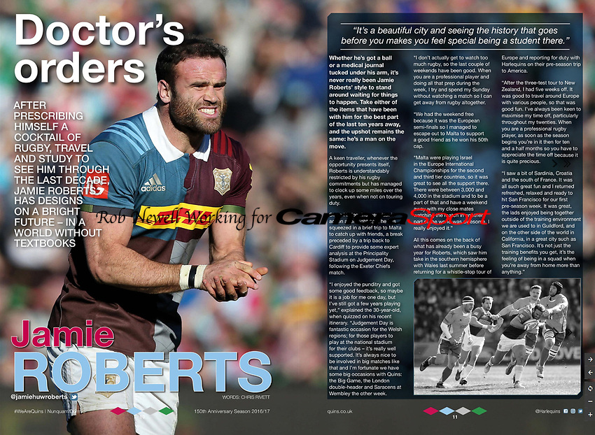 Harlequins RFC Programme 28-Apr-2017 - 'Doctor's orders Jamie ROBERTS' - Photo by Rob Newell (Camerasport via Getty Images)