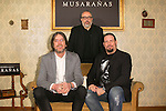 "Alex de la Iglesia, Esteban Roel and Juanfer Andres attend the presentation of the movie ""Musaranas"" in Madrid, Spain. December 17, 2014. (ALTERPHOTOS/Carlos Dafonte)"