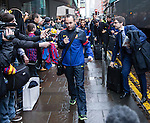 Andres Iniesta arrives at Barcelona's city centre hotel