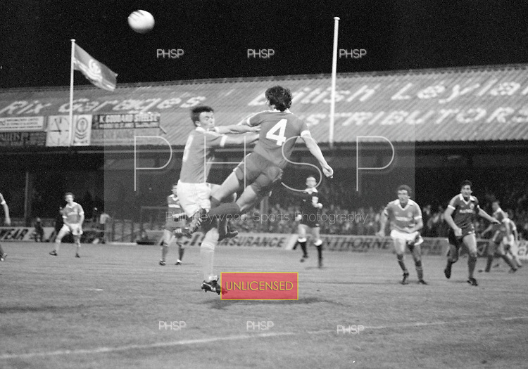 03/09/1980 Blackpool v Everton  League Cup 2nd Round 2nd Leg .Billy Wright clears from David Hockaday....© Phill Heywood.