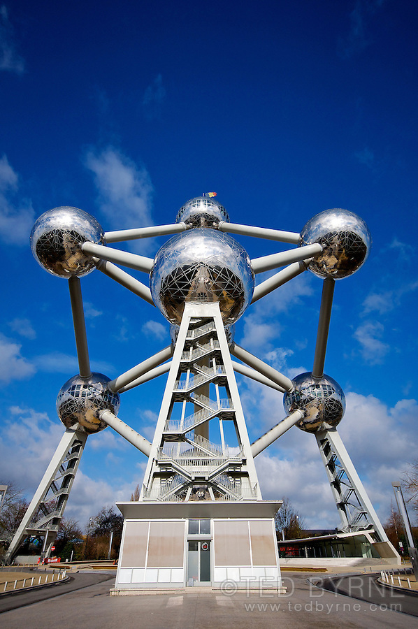 Ground view of the Atomium in Brussels, Belgium