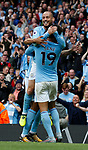 Leroy Sane of Manchester City celebrates scoring the first goal with David Silva of Manchester City during the premier league match at the Etihad Stadium, Manchester. Picture date 22nd September 2017. Picture credit should read: Simon Bellis/Sportimage