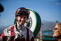 ARCADIA, CA - SEPTEMBER 30: Flavien Prat after winning the Chandelier Stakes at Santa Anita Park on September 30, 2017 in Arcadia, California. (Photo by Alex Evers/Eclipse Sportswire/Getty Images)