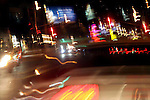 Traffic on a Los Angeles, California, USA street at night