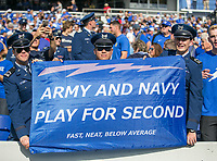 Annapolis, MD - October 7, 2017: Air Force Falcons fans hold a sign during the game between Air Force and Navy at  Navy-Marine Corps Memorial Stadium in Annapolis, MD.   (Photo by Elliott Brown/Media Images International)
