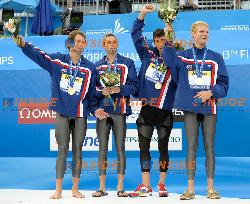 Roma 2nd August 2009 - 13th Fina World Championships From 17th to 2nd August 2009....Swimming finals..Men's 4x100 medley relay..Team USA....photo: Roma2009.com/InsideFoto/SeaSee.com