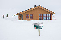 The newly built Vouma cabin in Dividalen National Park is part of the Norwegian Trekking Association network. As a goodwill gesture and part of their Arctic training the Royal Navy use helicopters to fly firewood to the remote location. <br /> <br /> <br /> In 2019 the Arctic exercise Clockwork passed 50 years of training in Norway, and now has a permanent base within the Norwegian Air Force base at Bardufoss. <br /> <br /> 845 Naval Air Squadron is a squadron of the Royal Navy's Fleet Air Arm. Part of the Commando Helicopter Force, it is a specialist amphibious unit operating the Leonardo Commando Merlin Mk3 helicopter and provides troop transport and load lifting support to 3 Commando Brigade Royal Marines.<br /> <br /> &copy;Fredrik Naumann/Felix Features