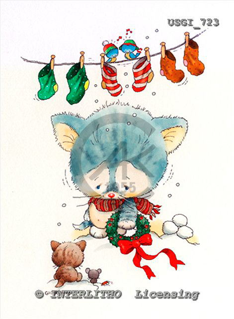 GIORDANO, CHRISTMAS ANIMALS, WEIHNACHTEN TIERE, NAVIDAD ANIMALES, paintings+++++,USGI723,#XA#