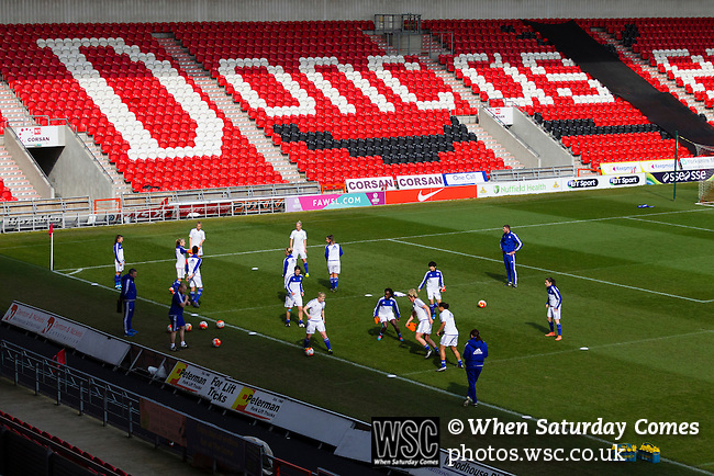 Doncaster Rovers Belles 1 Chelsea Ladies 4, 20/03/2016. Keepmoat Stadium, Womens FA Cup. Chelsea players warming up. Photo by Paul Thompson.