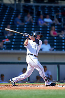 Mesa Solar Sox second baseman Kody Eaves (28), of the Detroit Tigers organization, follows through on his swing during a game against the Surprise Saguaros on October 20, 2017 at Sloan Park in Mesa, Arizona. The Solar Sox walked-off the Saguaros 7-6.  (Zachary Lucy/Four Seam Images)