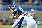 BROOKINGS, SD - SEPTEMBER 24:  Jake Wieneke #19 from South Dakota State University looks to make a move against Justin Fitzpatrick #30 from Western Illinois in the first half of their game Saturday evening at Dana J. Dykhouse Stadium in Brookings. (Photo by Dave Eggen/Inertia)
