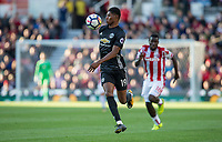 Marcus Rashford of Man Utd controls the ball during the Premier League match between Stoke City and Manchester United at the Britannia Stadium, Stoke-on-Trent, England on 9 September 2017. Photo by Andy Rowland.