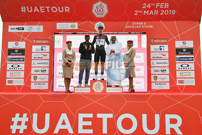 Stepan Kuriyanov (RUS) Gazprom–Rusvelo also retains the Black Jersey at the end of Stage 5 of the 2019 UAE Tour, running 181km form Sharjah to Khor Fakkan, Dubai, United Arab Emirates. 28th February 2019.<br /> Picture: LaPresse/Massimo Paolone | Cyclefile<br /> <br /> <br /> All photos usage must carry mandatory copyright credit (© Cyclefile | LaPresse/Massimo Paolone)