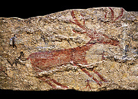 Fresco of human figures around a deer. None of the figures carry weapons and some a dressed in leopard costumes. The figures seem to be trying to hold on or touch the deer amd one figure appears to be holding its tongue. 6000 BC, Catalhoyuk Collections. Museum of Anatolian Civilisations, Ankara.