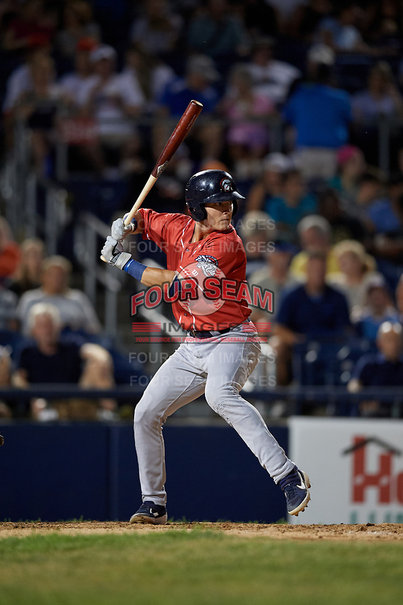 New Hampshire Fisher Cats Logan Warmoth (5) bats during an Eastern League game against the Trenton Thunder on August 20, 2019 at Arm & Hammer Park in Trenton, New Jersey.  New Hampshire defeated Trenton 7-2.  (Mike Janes/Four Seam Images)