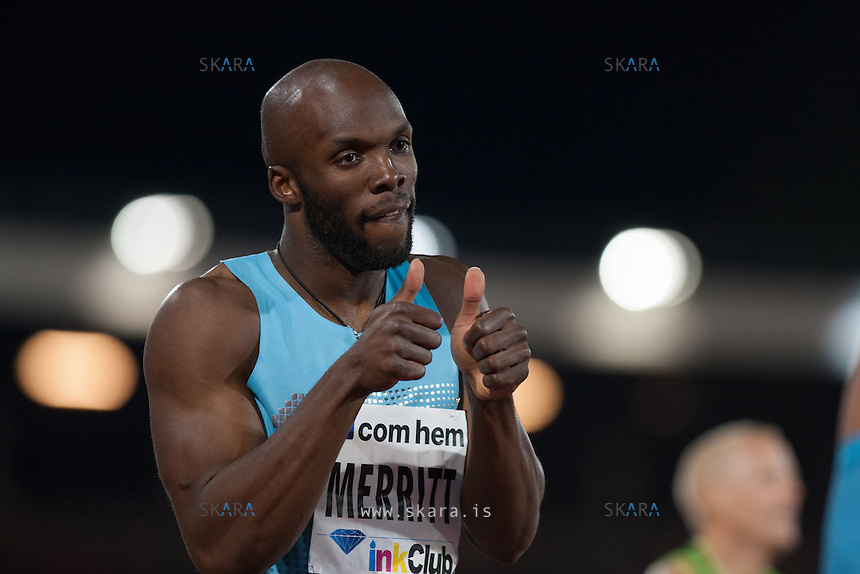 MERRITT Lashawn (USA) celebrates his win in the 400m run at the IAAF Diamond League meeting in Stockholm.