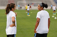 Chicago, IL - Sunday Sept. 04, 2016: Jennifer Hoy, Samantha Johnson prior to a regular season National Women's Soccer League (NWSL) match between the Chicago Red Stars and Seattle Reign FC at Toyota Park.