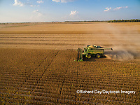 63801-09105 Soybean Harvest, John Deere combine harvesting soybeans - aerial - Marion Co. IL