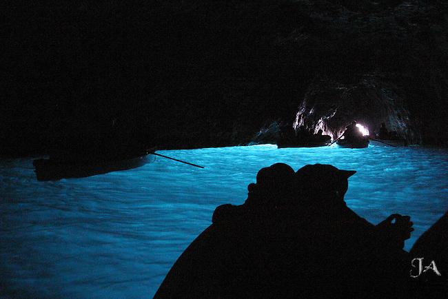 Tourists inside the blue grotto, capri