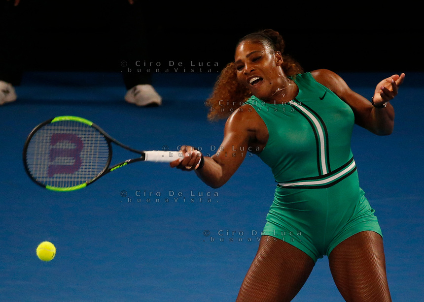 17th January 2019, Melbourne Park, Melbourne, Australia; Australian Open Tennis, day 4; Serena Williams of USA returns the ball in the match against Eugenie Bouchard of Canada