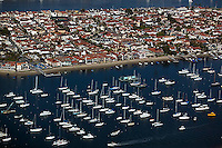 aerial view above Balboa Island Newport Beach Orange County California