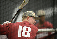 NWA Democrat-Gazette/ANDY SHUPE<br /> Arkansas right fielder Heston Kjerstad takes batting practice Friday, June 7, 2019, during practice in The Fowler Family Baseball and Track Training Center ahead of today's NCAA Super Regional game at Baum-Walker Stadium in Fayetteville. Visit nwadg.com/photos to see more photographs from the practices.