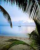 HONDURAS, Roatan, scenic view of boat on the Caribbean Sea