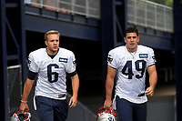 July 26, 2018: New England Patriots punter Ryan Allen (6) and long snapper Joe Cardona (49) head to practice at the New England Patriots training camp held on the practice fields at Gillette Stadium, in Foxborough, Massachusetts. Eric Canha/CSM